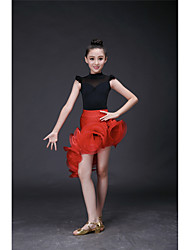 Latin Dance Dresses Children's Training Lace / Milk Fiber Lace / Ruffles 1 Piece Long Sleeve High Dress