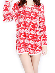 Feminino Bainha Vestido, Para Noite Casual Vintage Moda de Rua Estampado Decote Redondo Acima do Joelho Manga Longa Vermelho Poliéster