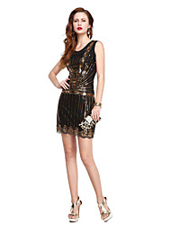 Cocktail Party Dress Sheath / Column Scoop Short / Mini Sequined with Sequins