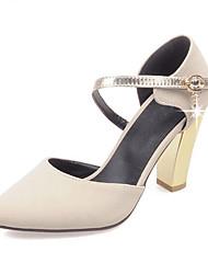 Feminino-Sandálias-Sapatos com Bolsa Combinando-Salto Grosso-Preto Vermelho Bege-Courino-Escritório & Trabalho Casual Social