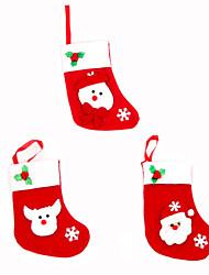 Товары для Рождественской вечеринки Подарочные мешки Товары для отпуска 3Pcs Рождество Текстиль Серебристый