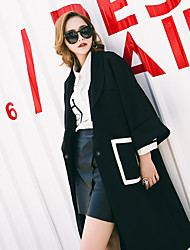 Women Autumn new European and American leisure suit collar Asymmetric sleeve and long sections coat tide brand