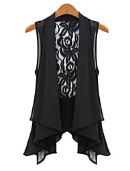 Women's Going out Casual/Daily Sexy Simple Sophisticated Jackets,Solid Shawl Lapel Sleeveless Black Polyester