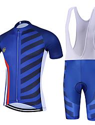 Esportivo Camisa com Bermuda Bretelle Homens Manga Curta MotoRespirável Secagem Rápida Design Anatômico Zíper Frontal Tapete 3D Bolso