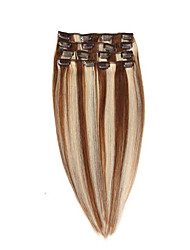 Brazilian Clip In Human Hair Extensions Straight Clip-In Hair Extensions #6/613 Full Head 7pcs  22inch 100g
