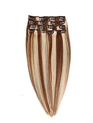 Clip brazilian dans les extensions de cheveux humains droite clip-in extensions de cheveux # 6/613 tête pleine 7pcs 22inch 100g
