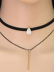 Women's Choker Necklaces Tattoo Choker Alloy Teardrop Tattoo Style Fashion Gold Jewelry Party 1pc