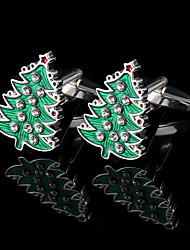 Christmas Tree Cufflinks Men's Present France Shirt Rhinestone Cuff links Cuff Buttons Gifts For Male Jewelry With Gift Box