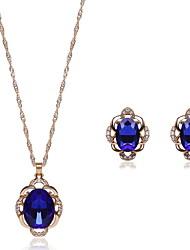 Kristall Krystall Aleación Schwarz Blau 1 Halskette 1 Paar Ohrringe Für Hochzeit Party 1 Set Hochzeitsgeschenke