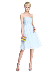 Lanting Bride® Knee-length Chiffon Bridesmaid Dress - A-line Sweetheart Plus Size / Petite with Criss Cross / Ruching