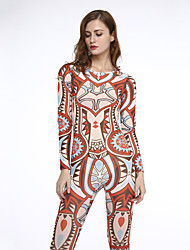 Women's Print Slim Patchwork Mesh Sexy Backless Jumpsuits,Vintage / Boho Round Neck Long Sleeve