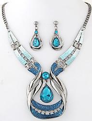Mulheres Conjunto de Jóias Brincos Compridos Colares com Pendentes Moda Europeu Elegant bijuterias Gema Resina Liga Caído 1 Colar 1 Par