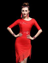 Latin Dance Dresses Women's Performance Milk Fiber Lace / Tassel(s) 2 Pieces Half Sleeve High Dress / Shorts