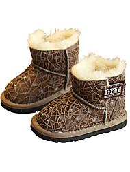 Boy's Boots Winter Comfort Cowhide Casual Flat Heel Black Khaki