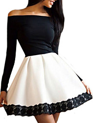 Women's New Off Shoulder Slim Sexy Lace Spliced Color Block Party Dress