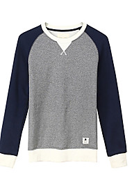 Trenduality® Men's Round Neck Long Sleeve T Shirt Navy / Light Gray / Dark Gray - 47044