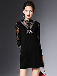 2016 inverno novas mulheres sexy rendas costura senhoras finas foi vestido preto fina