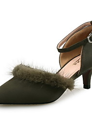 Women's Heels Comfort Leather / Cashmere Wedding / Party & Evening / Dress Low Heel Feather Black / Yellow / Green / Pink / Red