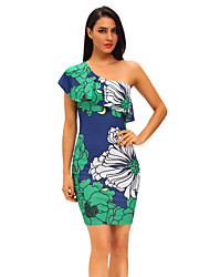 Women's Ruffle Greenish Floral Print Frill One Shoulder Midi Dress
