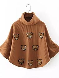 Camicia Da donna Per uscire Casual Semplice Moda città Autunno Inverno,Ricamato A collo alto Cotone Manica lunga Medio spessore