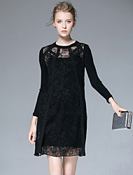 Women's Casual/Daily Vintage Winter Blouse Skirt Suits,Solid Round Neck Long Sleeve Lace Wool Acrylic Inelastic