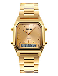 SKMEI Pánské Náramkové hodinky Křemenný Digitální LED Kalendář Chronograf Voděodolné Hodinky s trojitým časem poplach Stopky Svítící Nerez