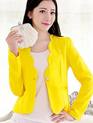Women's Going out / Casual/Daily Simple Spring / Fall Blazer,Solid Asymmetrical Long SleeveBlue / Pink / Red / White / Black / Yellow /