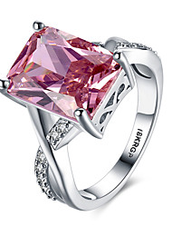 18KRGP White Gold Plated Women Wedding Ring Pink Cubic Zirconia Engagement Ring PR827