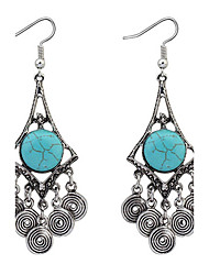 Fashion Imitation Turquoise Retro Coins Drop Earrings Jewelry Women