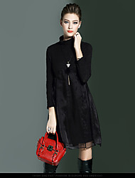2016 fall and winter clothes new fashion commuter stitching long-sleeved knit sweater dress big swing