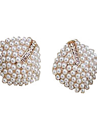 May Polly  Gold pearl diamond earringsImitation Diamond Birthstone