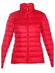 Women's Solid Red / Black / Gray / Green / Purple Down Coat,Simple / Street chic / Active Turtleneck Long Sleeve