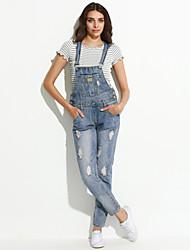 Femme Jeans Pantalon,Vintage Sortie Couleur Pleine Bouton Coton / Polyester non élastique Automne