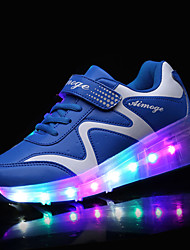 Men's Sneakers Spring Fall Comfort PU Outdoor Flat Heel Magic Tape LED Blue Pink Skiing Shoes