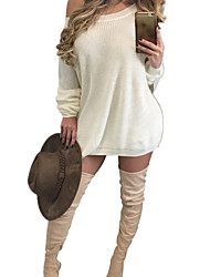 Women's Sexy One Shoulder Solid Loose Knitting Sweater Mini Dress
