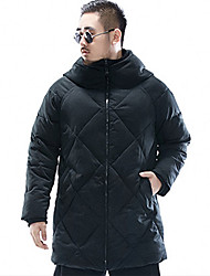 Men's Long Padded Coat,Simple Plus Size Solid-Polyester Cotton Long Sleeve Crew Neck Black