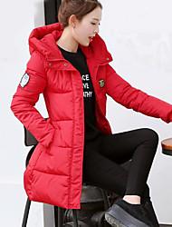 Manteau Doudoune Femme,Longue simple Décontracté / Quotidien Couleur Pleine-Polyester Duvet de Canard Blanc Manches LonguesBleu Rose
