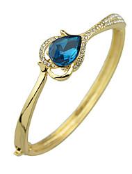 Elegant Gold Plated Blue Rhinestone Bracelet Bangle