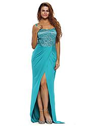 Women's Red Lace Bustier Top Split Maxi Party Dress