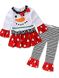 Girl Casual/Daily Polka Dot Sets,Cotton Winter Fall Dress
