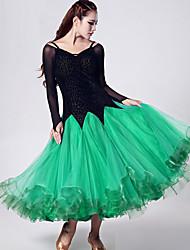 Danse de Salon Robes Femme Spectacle Organza Velours Fantaisie Bloc de Couleur 1 Pièce Manche longue Taille moyenne Robe