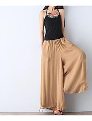 Feminino Solto Chinos Calças-Cor Única Casual Simples Cintura Média Elasticidade Raiom Inelástico Verão Outono