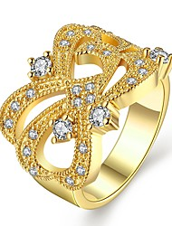Gold Plated Jewellery Classic Style Hollow-out Geometric Design Rings Inlaid Zirconia for Women US Sizes 7 8