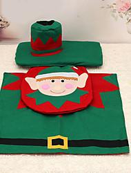 3pcs elf christmas siège de toilette décoration de couverture réservoir de tapis pour les fournitures à la maison de salle de bains