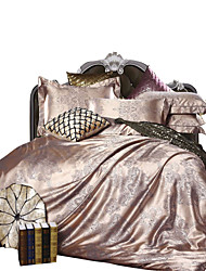 Sólido Conjunto de Capa de Edredão 4 Peças Poliéster/Algodão Luxuoso Jacquard Poliéster/Algodão Tamanho grande King1pç Capa de Edredon