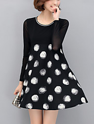 Women's Plus Size /Casual/Daily Street chic A Line /Loose Dress Polka Dot Above Knee Long Sleeve Black Polyester Spring /Fall