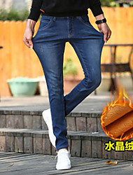 Men's Skinny Jeans Pants,Going out / Casual/Daily Simple Solid Mid Rise Zipper Cotton Micro-elastic Fall / Winter
