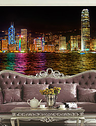 JAMMORY Art DecoWallpaper For Home Wall Covering Canvas Adhesive required Mural City Night View XL XXL XXXL
