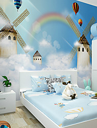 JAMMORY Art DecoWallpaper For Home Wall Covering Canvas Adhesive required Mural Children's Room Cartoon Castle Windmill XL XXL XXXL