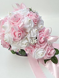 "Wedding Flowers Free-form Roses Bouquets Wedding Party/ Evening Satin Foam 9.84""(Approx.25cm)"